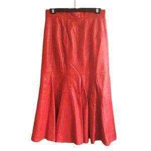 Vintage 70s midi bell shape leather skirt